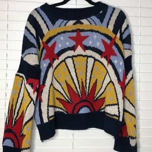 Knit sweater colorful starts size large navy red